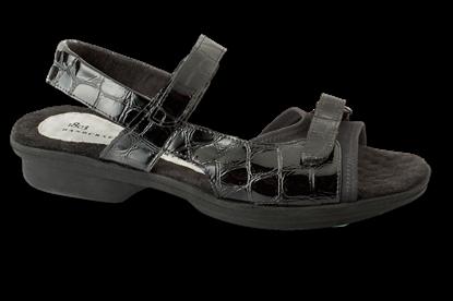 Carmel Black Glass Croc Womens Sandal