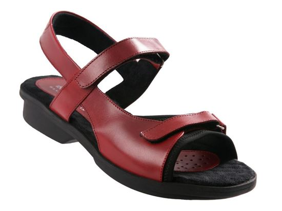 Carmel Red Leather Womens Sandal