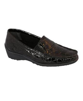 Madras Black Glass Croc Womens Shoe