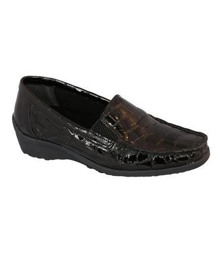 Madras Black Glass Croc Womens Shoe